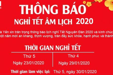 CÔNG TY HÀ YẾN THÔNG BÁO LỊCH NGHỈ TẾT NGUYÊN ĐÁN NĂM 2020