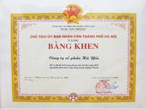 Bằng khen của UBND TP Hà Nội