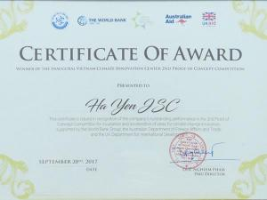 Giải thưởng của VCIC về chống biến đổi khí hậu