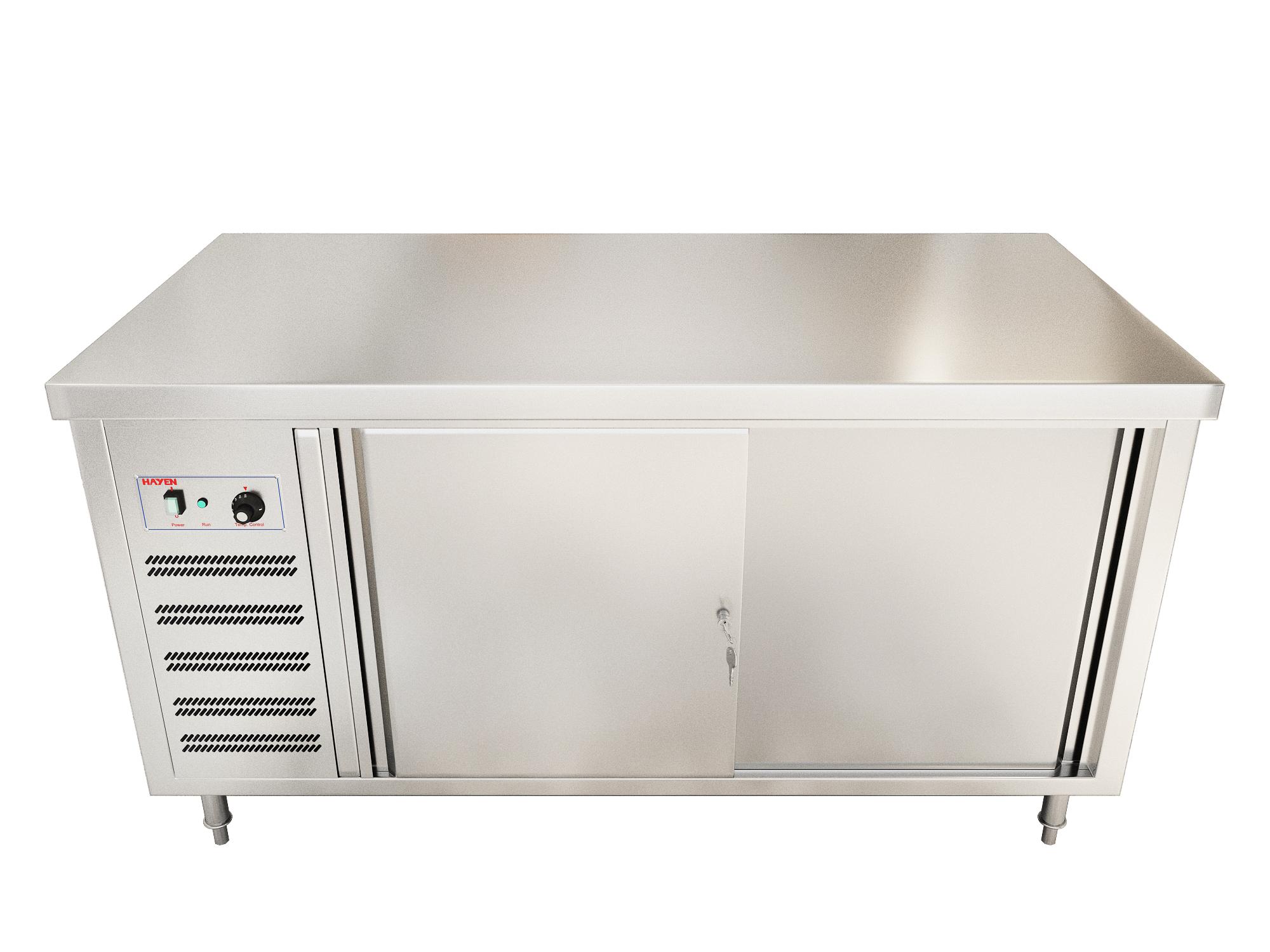 Quầy giữ nóng bát, đĩa bằng khí nóng, 2 cửa trượt, 1 phía